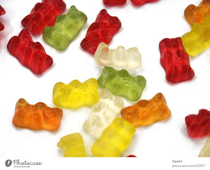 Kindertraum grün weiß rot Farbe gelb orange liegen Ernährung süß Süßwaren durcheinander Zahnarzt Bär Gummi lutschen ungesund