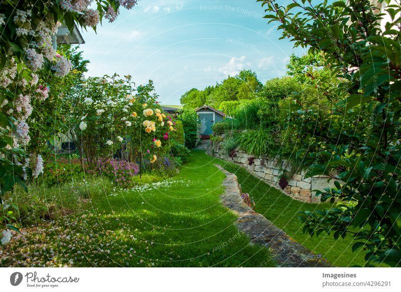 Wohngarten, privater Garten. Schöne Landschaftsgestaltung im Sommer. Hausgarten in voller Blüte mit Blumenbeet. schön Schönheit in der Natur botanisch Gebäude