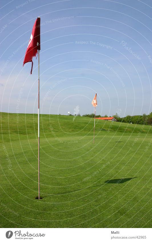 golfers green Golfplatz Fahne grün Sport blau Himmel Loch Hole