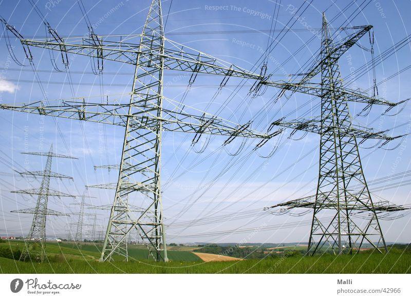 energy Elektrizität Strommast Weitwinkel Industrie Kabel Himmel Leitung