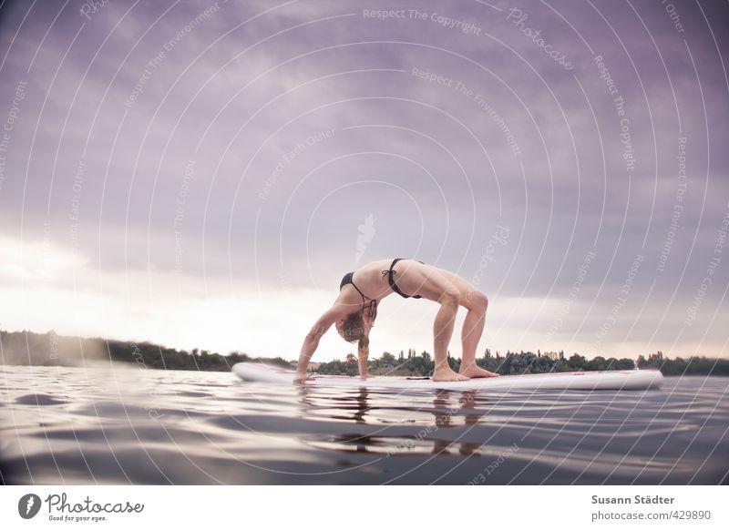 SUP | YOGA ruhig Sport Schwimmen & Baden See Freizeit & Hobby stehen Brücke Fitness Konzentration Abenddämmerung Sport-Training Meditation Surfen Yoga