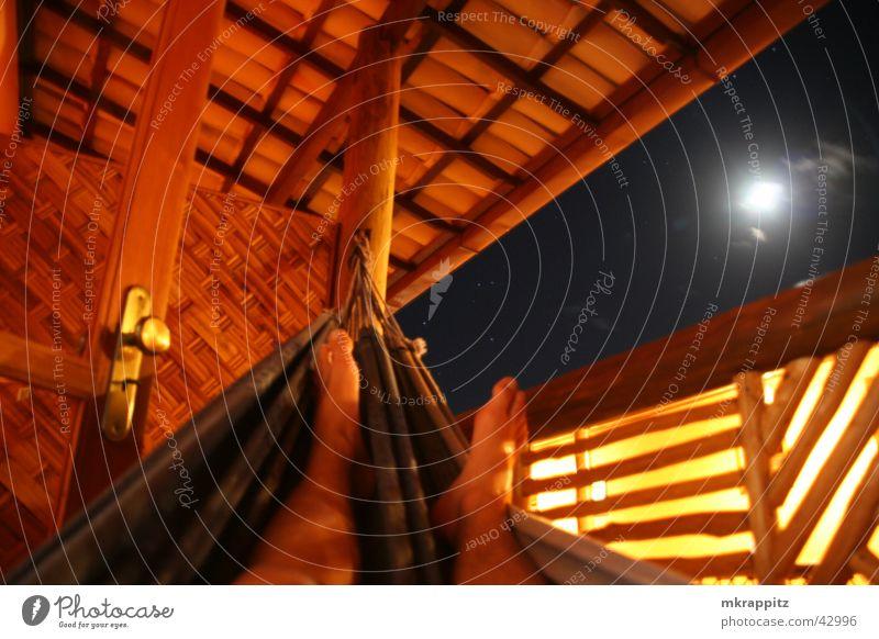 Chilling in Brazil Brasilien Nacht Hängematte Itacaré Hotel Balkon Erholung Ferien & Urlaub & Reisen Südamerika Mond