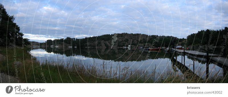 Schweden im Panorama Meer Wasser See träumen groß Steg Skandinavien Europa Panorama (Bildformat) Abend Panorama (Aussicht)