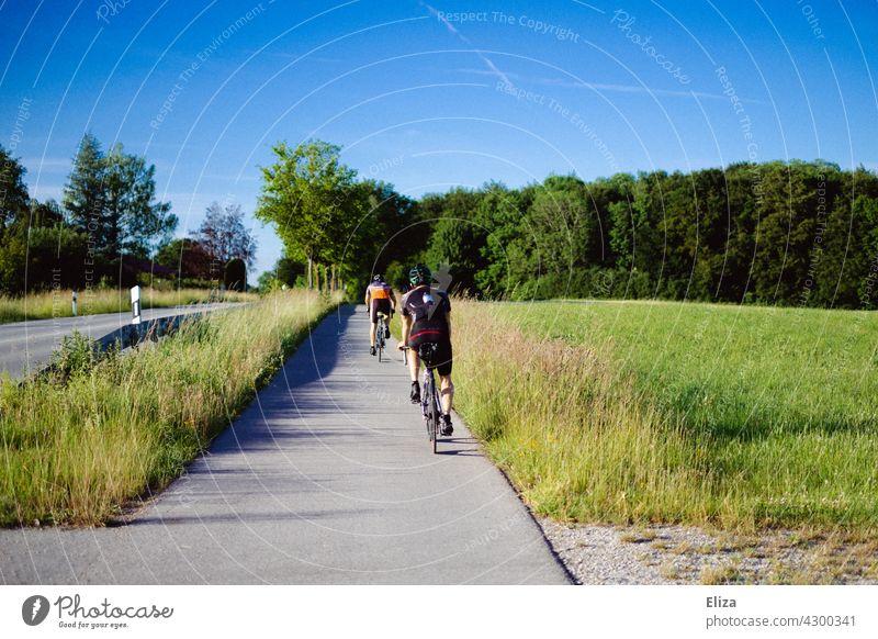 Zwei Rennradfahrer fahren auf dem Radweg neben einer Straße im Sommer. Radfahrer Radsport Fahrrad Bewegung Fahrradfahren Sport Radfahren Landstraße bäume Natur