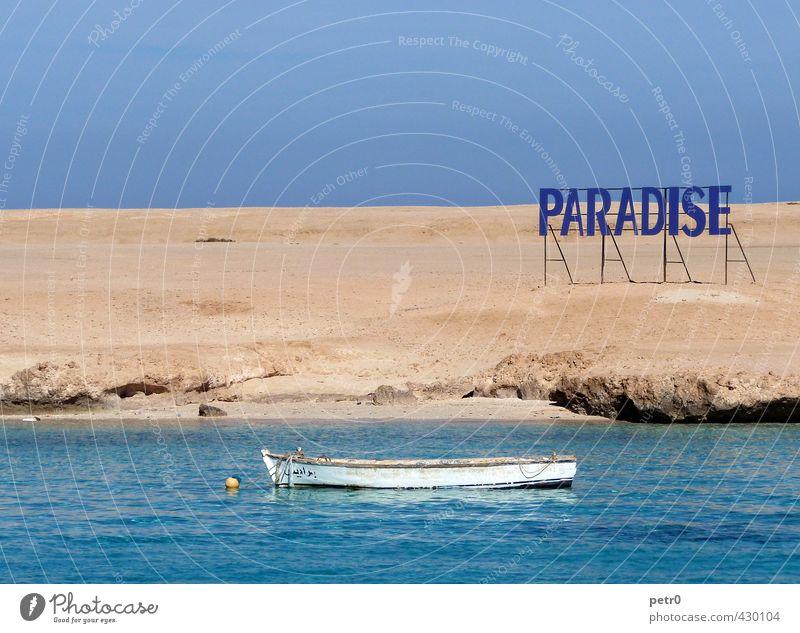 Paradise Ferien & Urlaub & Reisen Wasser Sommer Sonne Meer Erholung ruhig Strand Ferne Küste Freiheit Schwimmen & Baden Sand Luft Tourismus Schilder & Markierungen