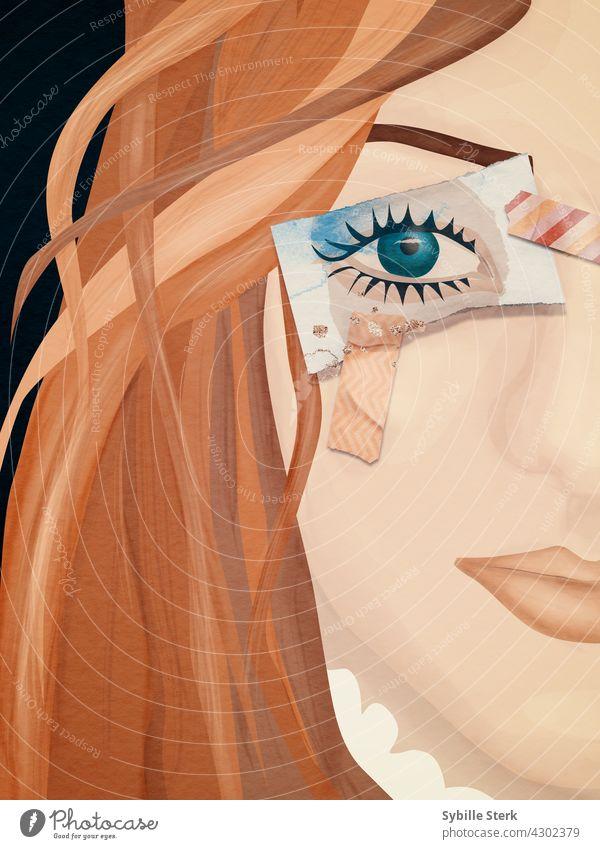 Frau mit auf Papier gemaltem Auge anstelle eines echten Auges Junge Frau Mädchen rote Haare grünes Auge lange Haare blind geblendet nichts sehen Wegsehen