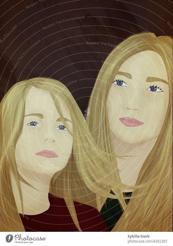 Schwestern oder junge Mutter und Kind rote Haare Schwesternschaft Mutterschaft Stiefschwester Freunde Liebe Frau Schönheit Fröhlichkeit Freundschaft Mädchen