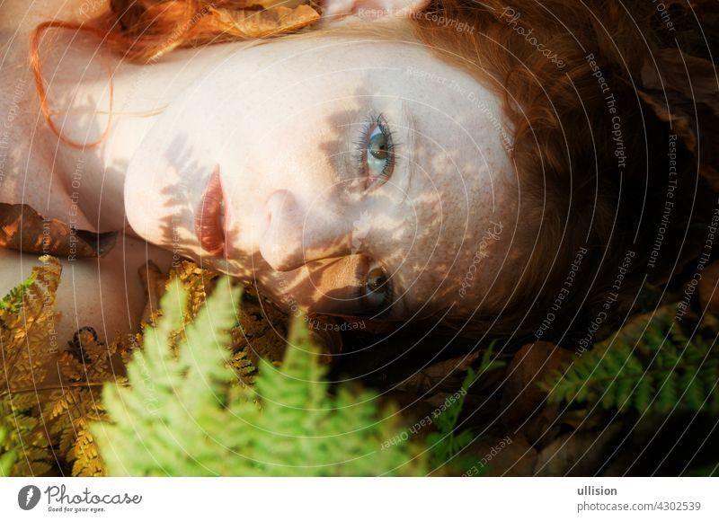 Porträt einer schönen natürlichen sexy rothaarigen Frau auf dem Waldboden mit dem Schatten eines Farnblattes auf ihrem Gesicht Blätter Prinzessin Garten Elfe