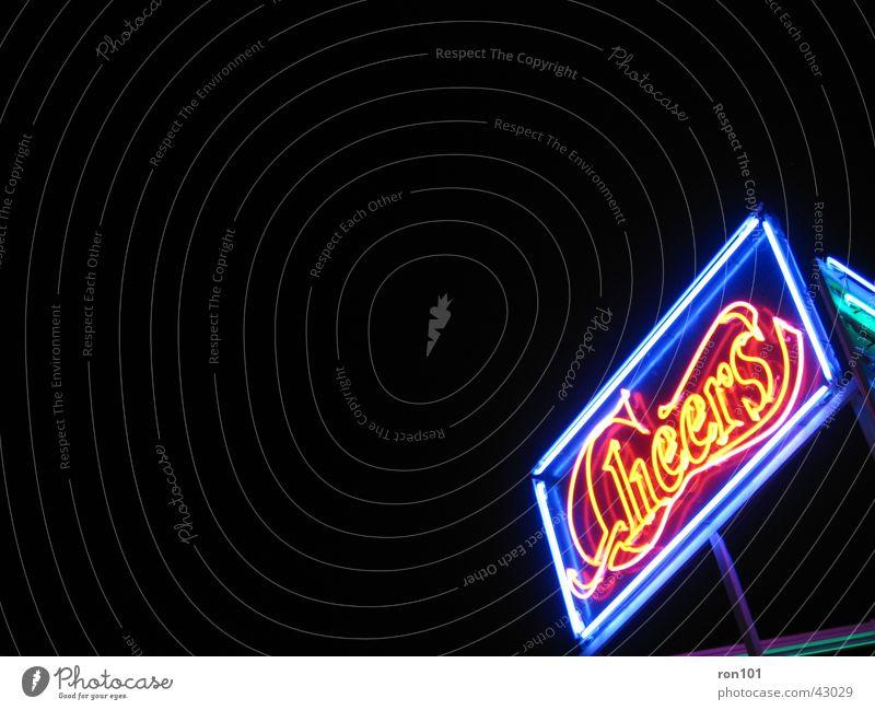 cheers Werbung Neonlicht Leuchtreklame schwarz rot Freizeit & Hobby blau
