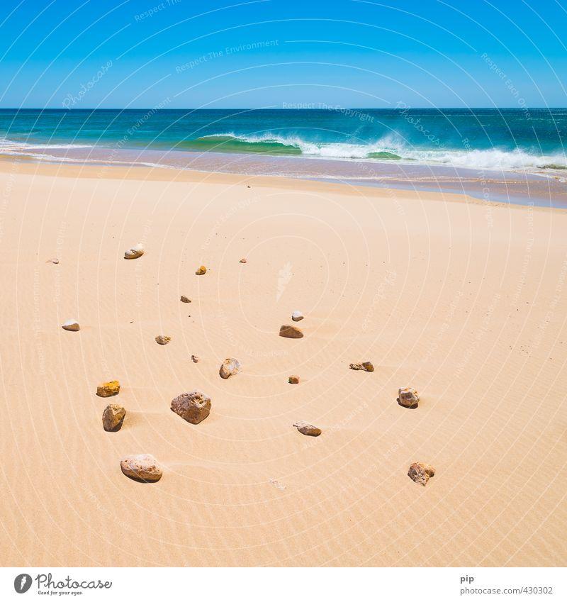 auf sand gebaut Umwelt Natur Urelemente Sand Wasser Wolkenloser Himmel Horizont Sommer Schönes Wetter Wind Wärme Wellen Küste Strand Meer blau gelb Fernweh