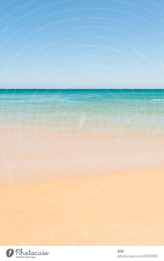 weniger ist meer Umwelt Natur Urelemente Sand Luft Wasser Wolkenloser Himmel Horizont Sommer Klima Schönes Wetter Wärme Küste Strand Meer schön blau gelb