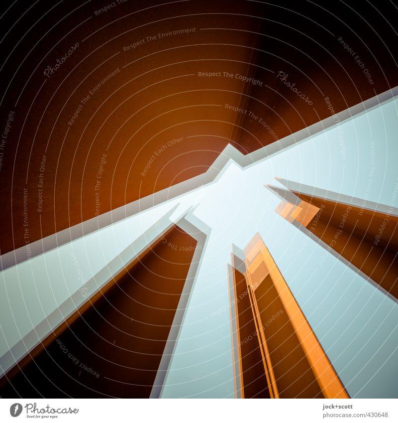 .drei .vier .eck Wärme Bewegung Berlin Metall träumen Kraft leuchten hoch Turm stark fest Wolkenloser Himmel Rost Irritation Stress eckig