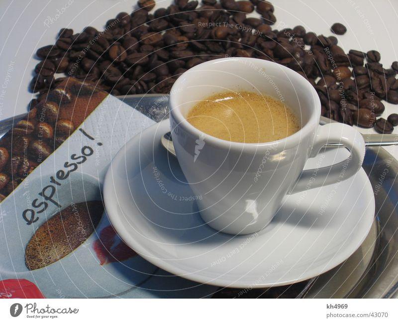 Espresso Tasse Bohnen Serviette Kaffeetasse