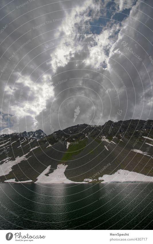 Am Schottensee Umwelt Natur Landschaft Urelemente Wasser Himmel Gewitterwolken Wetter schlechtes Wetter Alpen Berge u. Gebirge Gipfel Schneebedeckte Gipfel