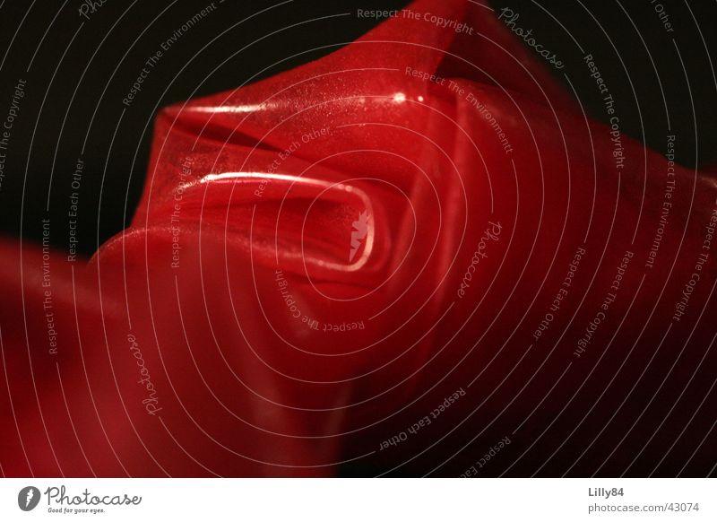 Knoten im Kondom rot glänzend Knoten Anschnitt Verhütungsmittel Kondom Latex