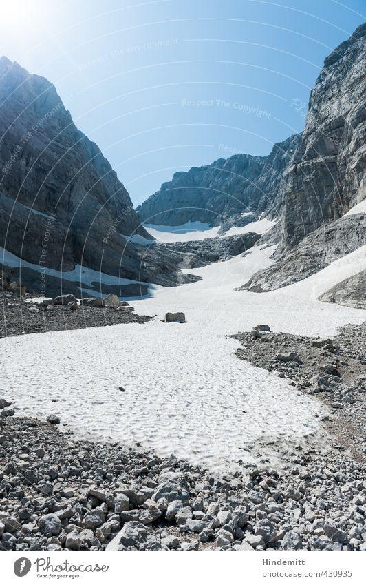 Blaueis Umwelt Natur Landschaft Himmel Wolkenloser Himmel Sonne Sommer Klimawandel Wetter Schönes Wetter Schnee Wärme Felsen Alpen Berge u. Gebirge