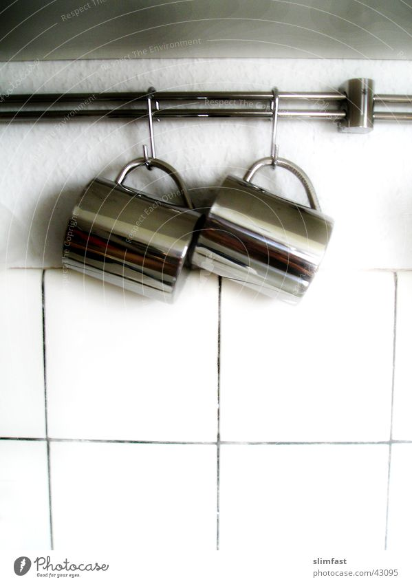 2 Tassen Küche Fliesen u. Kacheln Tasse Haushalt Aluminium Haken