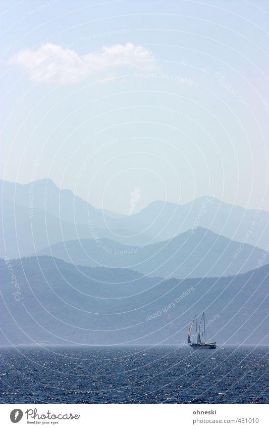 Golf von Fetihye Sommer Berge u. Gebirge Küste Meer Ägäis Mittelmeer Türkei Schifffahrt Segelboot Segelschiff Abenteuer Freiheit Ferien & Urlaub & Reisen Ferne
