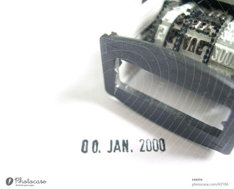 Realitätsverlust. weiß schwarz leer Termin & Datum Verabredung Stempel Druck Januar 2000 Datumsstempel