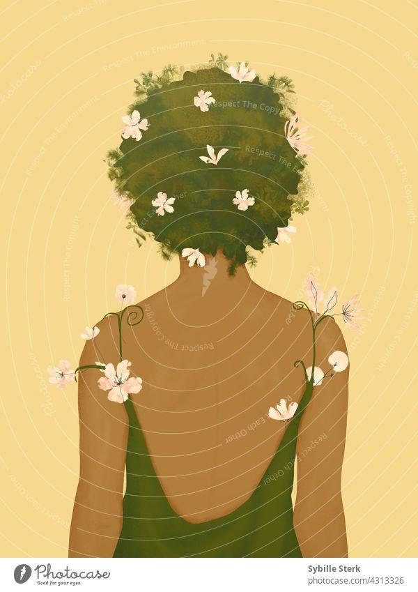 Frau mit Blumen, die aus ihrem Kleid und Haar wachsen Behaarung Afro-Look Blumen im Haar konzeptionell Selbstfürsorge rosa Blumen gelb grün Fröhlichkeit Rücken