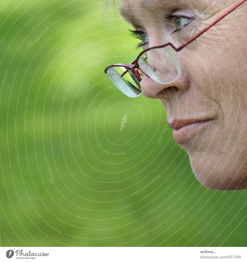 Reife Frau schaut skeptisch über ihre Brille hinweg Erwachsene Gesicht beobachten Denken Blick Freundlichkeit Neugier grün Mitgefühl achtsam Wachsamkeit