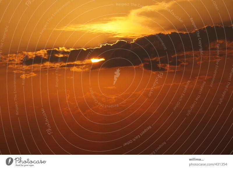 sonnenhungrig Himmel Sonne rot Wolken gelb lustig orange gefräßig nur Himmel