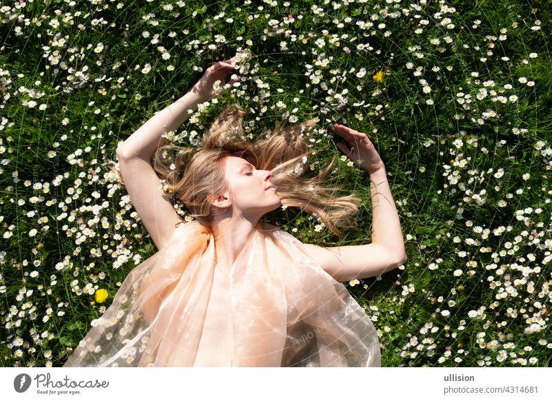 blonde Frau, die wie eine Fee im Garten in einem Feld voller Gänseblümchen liegt. Margeriten Freiheit Frauen Harmonie Urlaub träumen Hochzeit Blume Behaarung