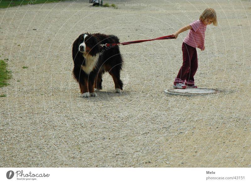 the other way Frau Kind Mädchen Hund Seil Spaziergang ziehen Zerreißen gehen