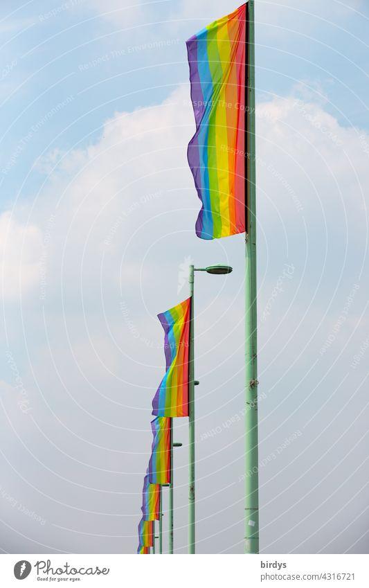 Viele Regenbogenfahnen in einer Reihe. Symbol für Gendergerechtigkeit, queere Menschen, Lesben und Schwule,  Vielfalt und Respekt in einer reihe Homosexualität