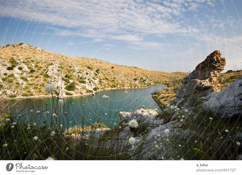 summertime II Umwelt Natur Landschaft Pflanze Urelemente Wasser Himmel Wolken Horizont Sommer Klima Schönes Wetter Wärme Gras Hügel Felsen Küste Strand Bucht