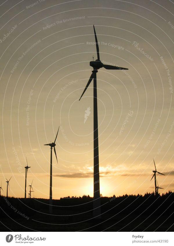 windkraft Windkraftanlage Sonnenuntergang Wissenschaften Energiewirtschaft Erneuerbare Energie regenerativ
