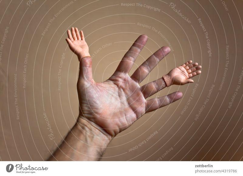 Hand mit Händen anatomie aufsatz daumen doppelt ersatz finger geste hand kleiner finger mann mensch mittelfinger puppe puppenhand ringfinger spielzeug