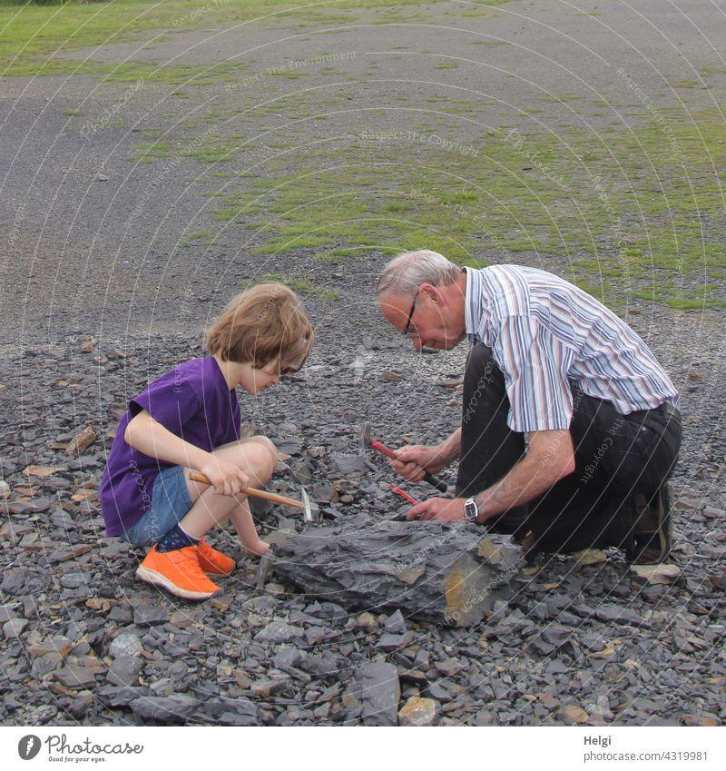 auf Fossiliensuche - Opa und Enkel suchen Fossilien im Steinbruch Piesberg bei Osnabrück Großvater Mensch Mann Kind Erdgeschichte Junge Senior Zusammensein alt