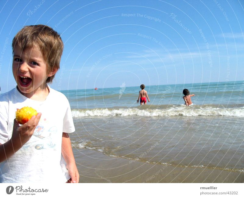 Fun in the Sun Mensch Kind Wasser Freude Ferien & Urlaub & Reisen Strand Meer Erholung Junge lachen klein Mund Freizeit & Hobby Kindheit Frucht