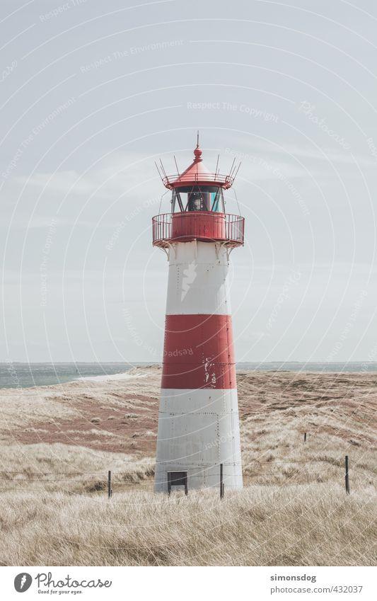 leuchtturm Landschaft Himmel Wolken Horizont Sommer Schönes Wetter Wärme Dürre Küste Strand Nordsee Idylle Leuchtturm Leuchtfeuer Dünengras Turm Navigation