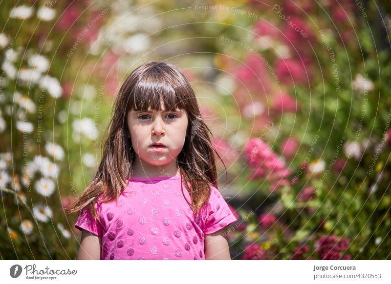 Mädchen in einem rosa Kleid, umgeben von Blumen in der Natur. Der Junge steht auf einer Treppe. geblümt Kleinkind Kind Freude Unschuld fluffig Wiese spielerisch