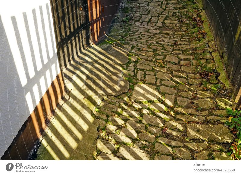Auf den alten Kopfsteinpflasterweg fällt der Schatten des Holzlattenzaunes Pflastersteinweg Pflastersteine Weg Holzzaun geheim geheimnisvoll Zaun Gartenzaun