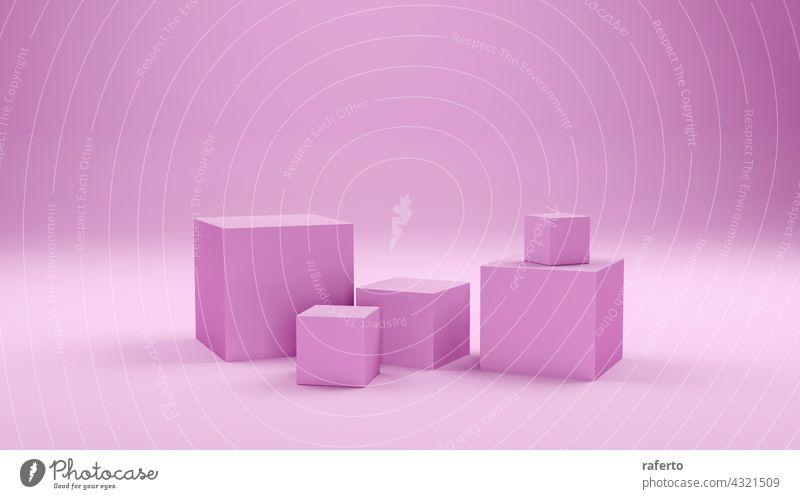 Geometrische rosa Form abstrakten Hintergrund. 3d Rendering. Würfel Produkt blanko leer Grafik u. Illustration weiß geometrisch modern Anzeige Podest Szene
