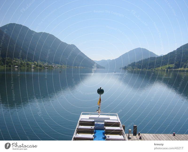 mountain lake Wasser ruhig Berge u. Gebirge See Alpen Spiegel Steg Österreich Glätte Oberfläche Allgäu Mittag Weißensee