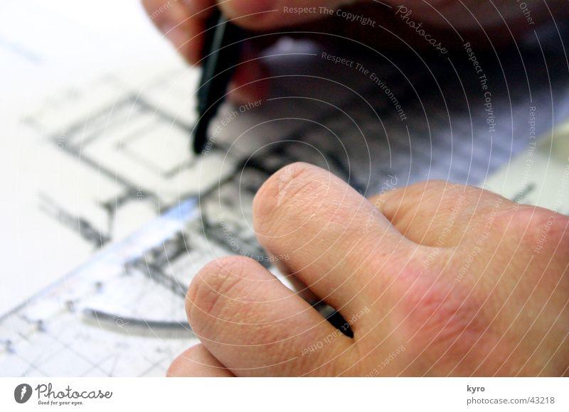 Architekt Gemälde Schreibstift Hand Finger Wohnung Haus Wand Millimeter Lineal schwarz Genauigkeit Präzision Mann Zeichnung Linie Skala maßstab messen