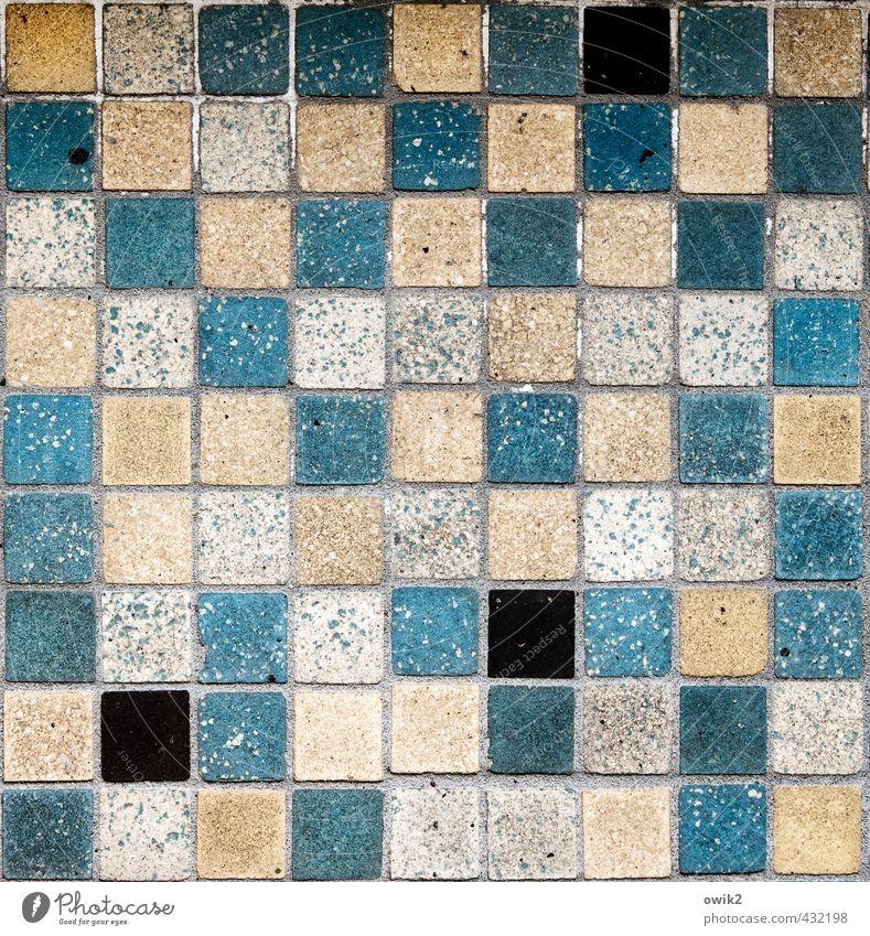 Algorithmus Mauer Wand Fassade klein nah viele verrückt Ordnungsliebe System Fliesen u. Kacheln Quadrat Fuge blau ocker schwarz grau Dekoration & Verzierung