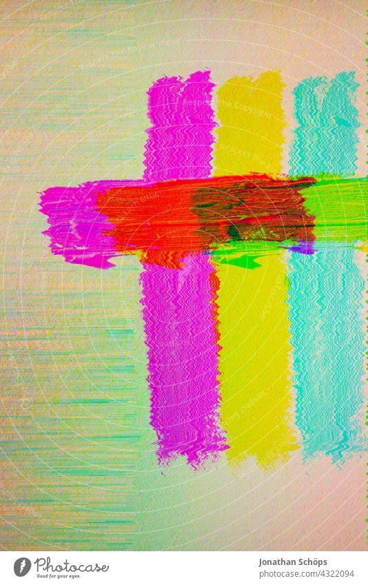 buntes gemaltes Kreuz auf Papier mehrfarbig Glitch Effekt Nahaufnahme Innenaufnahme Farbfoto reduziert Jesus Christus Gott Erlösung Farbe Tod Trauer