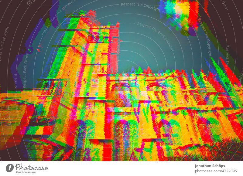 Kathedrale in Narbonne, Frankreich, mehrfarbig Glitch Effekt Farbfoto Gott Erlösung Farbe Religion & Glaube geheimnisvoll Frieden Erwartung Kreuz bunt