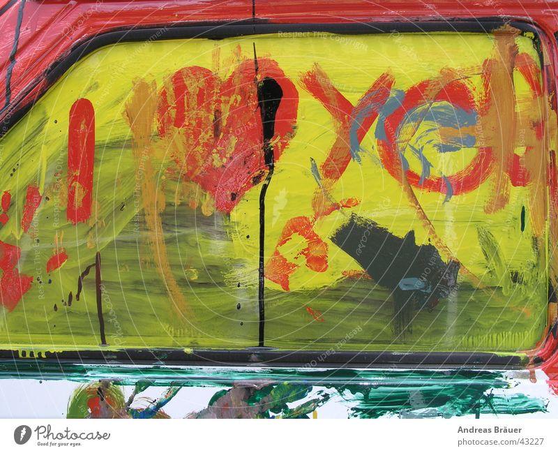 I love you rot gelb grün Gemälde Autotür Veranstaltung Fototechnik PKW Fensterscheibe Farbe Liebe I love You Opel Corsa Seitenfenster Kindermalerei