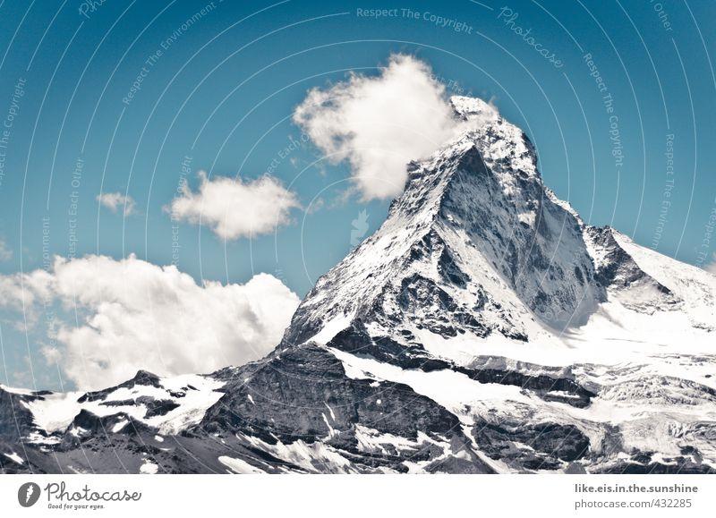 toblerone mit sahnehäubchen Himmel Natur Ferien & Urlaub & Reisen Sommer Sonne Landschaft Wolken Ferne Umwelt Berge u. Gebirge Schnee Felsen Klima hoch wandern Schönes Wetter