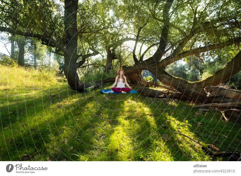 Junge rothaarige Frau macht Yoga-Übungen in der Natur in Sportkleidung in der Sonne im Wald sexy Fitness Wellness Mädchen jung Lächeln freudig Erwachsene schön