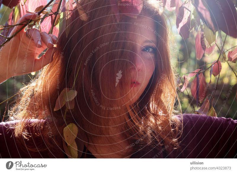 Porträt eines jungen schönen fuchsigen Mädchen mit violetten Top, schöne sexy attraktive feurige Frau, Ingwer, Rothaarige, unter violetten Herbst Busch,