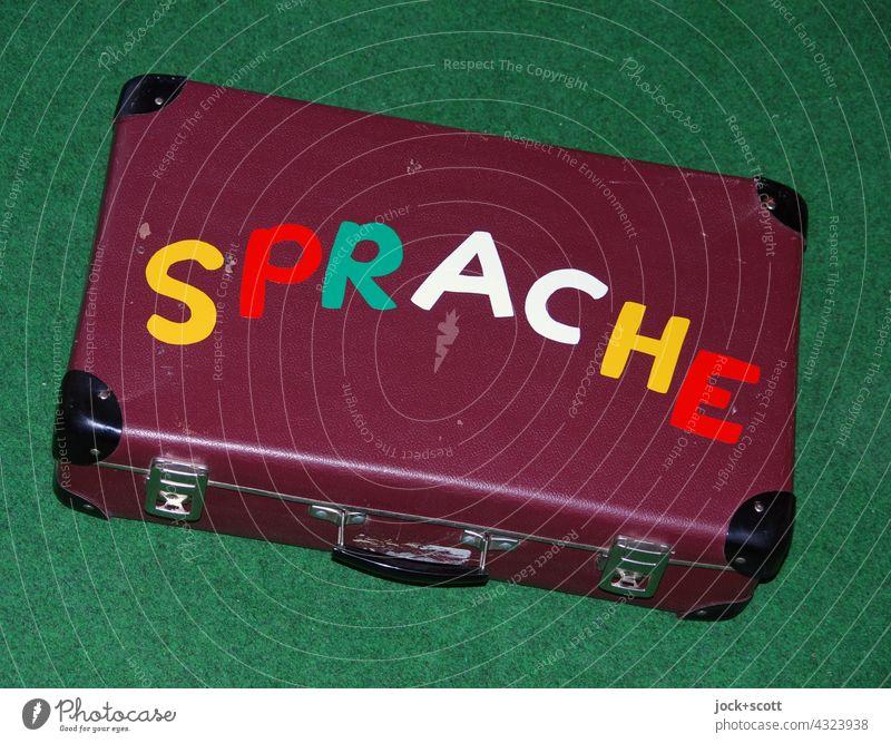 gebrauchter Sprachkoffer  beschriftet mit dem Wort Sprache Koffer Großbuchstabe Kommunizieren Beschriftung Kommunikation Hintergrund neutral Bodenbelag