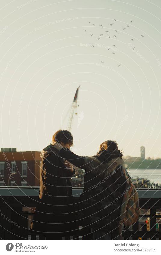 Paar mit schönen Sonnenuntergang in der Nähe des Hafens Urlaub Mann Liebesleben Sommer Erwachsene Außenaufnahme Moment Leben Abenteuer Sonnenaufgang Liebhaber