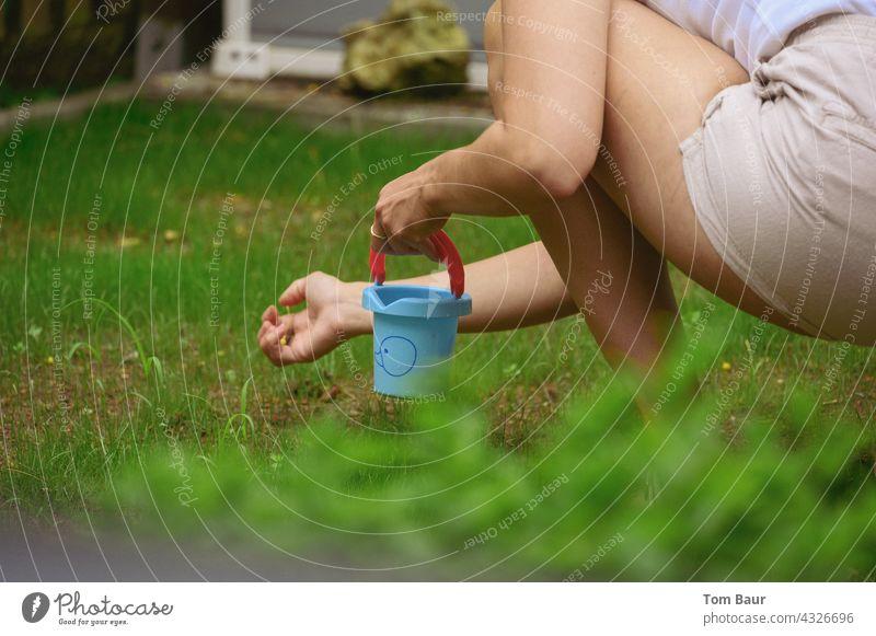 Die Guten ins Töpfchen - Frau knieend im Rasen und sammelt Steine auf um sie in einen kleinen blauen Eimer zu machen aufsammeln rasen Landschaft Natur Farbfoto